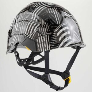 The Stars and Stripes in Black & White graphic printed on Petzl Helmets Strap