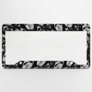 Punisher Skulls with Stars & Stripes in Black & White license plate frames.
