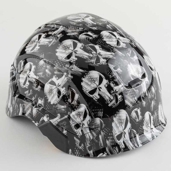Punisher Skulls with Stars & Stripes in Black & White graphic printed on Petzl Helmets Side angle