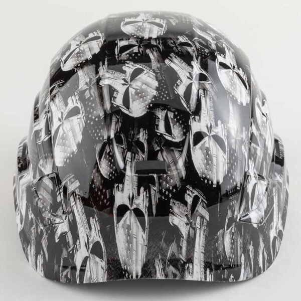 Punisher Skulls with Stars & Stripes in Black & White graphic printed on Petzl Helmets Side back