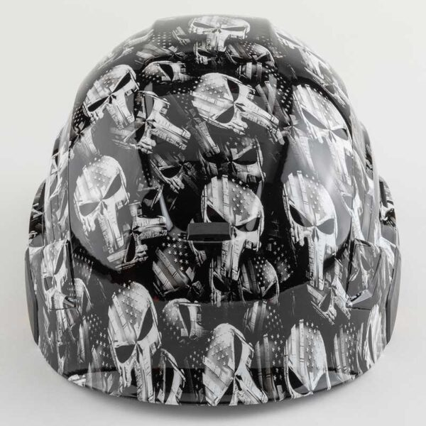 Punisher Skulls with Stars & Stripes in Black & White graphic printed on Petzl Helmets Side front