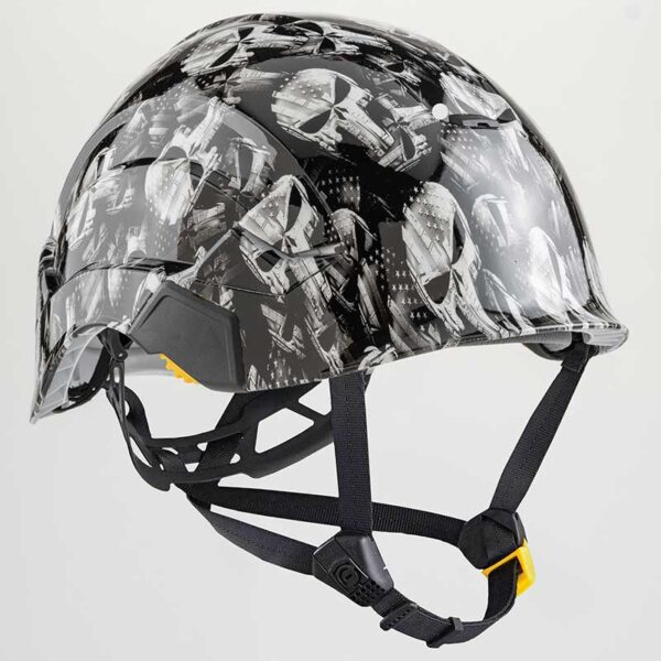 Punisher Skulls with Stars & Stripes in Black & White graphic printed on Petzl Helmets Side Straps