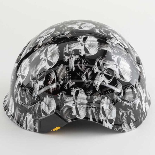 Punisher Skulls with Stars & Stripes in Black & White graphic printed on Petzl Helmets Side
