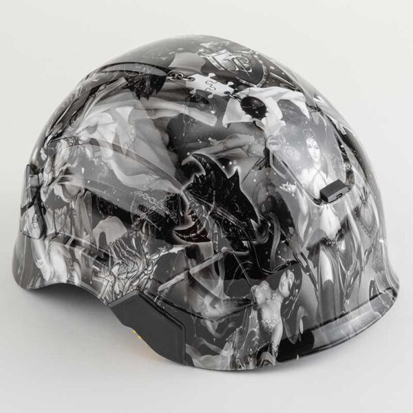 Valhalla Fantasy Fairies in Black & White graphic printed on Petzl Helmets angle