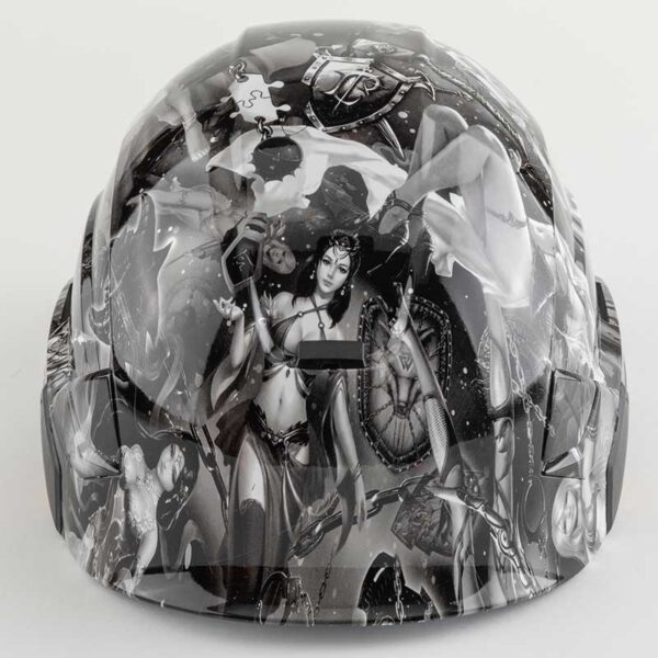 Valhalla Fantasy Fairies in Black & White graphic printed on Petzl Helmets front