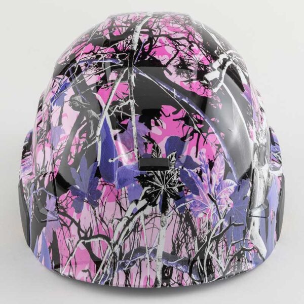 Muddy Girl Pink & Purple Camo graphic printed on Petzl Helmets front