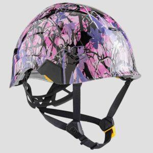 Muddy Girl Pink & Purple Camo graphic printed on Petzl Helmets strap