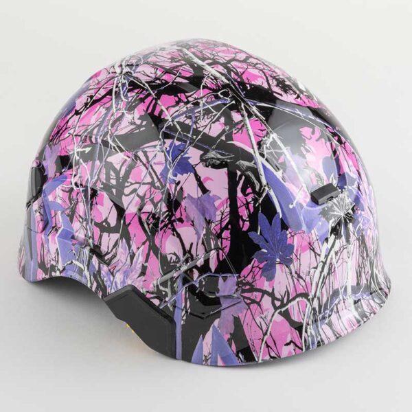 Muddy Girl Pink & Purple Camo graphic printed on Petzl Helmets angle
