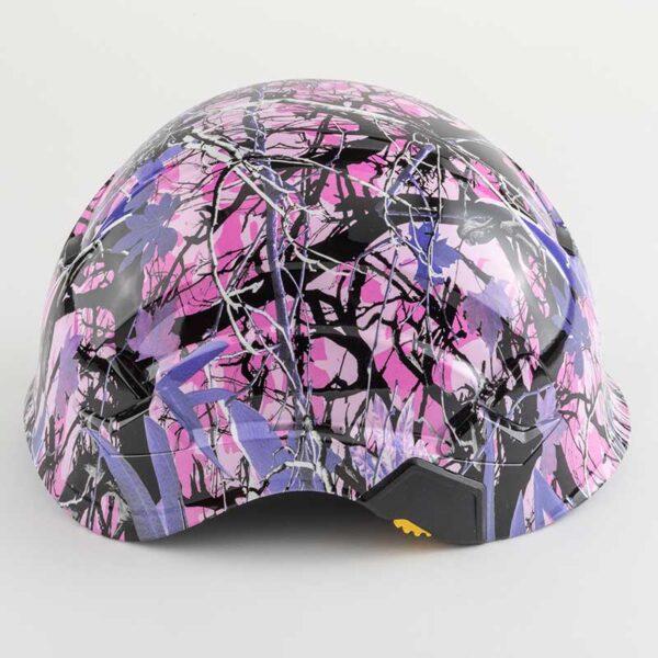 Muddy Girl Pink & Purple Camo graphic printed on Petzl Helmets side
