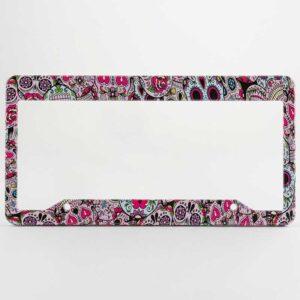 Pink Sugar Skulls license plate frames.