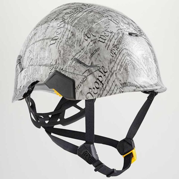 We the People in White and Grayish graphic printed on Petzl Helmets