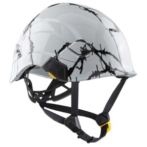 Barbwire Fence graphic printed on Petzl Helmets | Custom Gear for the Wind Power industry