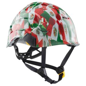 Flag of Mexico graphic printed on Petzl Helmets | Custom Gear for the Wind Power industry