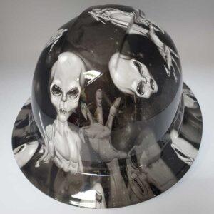 Aliens in Black and White | Valhalla Construction Helmet | TV-ABW-003 | Valhalla Custom Gear | Safety Helmet