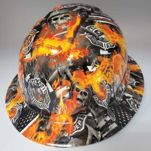 Fire and Skulls - Fire Department | Valhalla Construction Helmet | TV-FSFD-003 | Valhalla Custom Gear | Safety Helmet