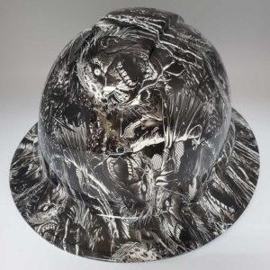 Grave Zombies in Black and White | Valhalla Construction Helmet | TV-ABW-003 | Valhalla Custom Gear | Safety Helmet