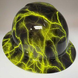 Neon Lightning and Black | Valhalla Safety Construction Helmet | TV-NEOL-003 | Valhalla Custom Gear | Safety Helmet