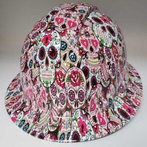 Pink Sugar Skulls | Valhalla Safety Construction Helmet | TV-PSS-003 | Valhalla Custom Gear | Safety Helmet