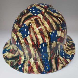 Wavy USA Flag in color | Valhalla Construction Helmet | TV-WUSF-003 | Valhalla Custom Gear | Safety Helmet