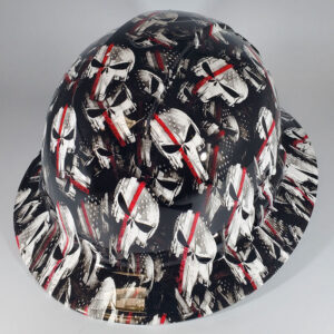 Punisher Red Line l Custom hydro dipped hard hats | Construction Helmet | Safety Helmet | Safety Hard Hats | Construction Helmet | Safety Helmet