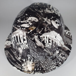 Fallen in Black and White l Custom hydro dipped hard hats | Construction Helmet | Safety Helmet | Safety Hard Hats | Construction Helmet | Safety Helmet