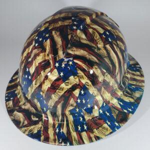 Wavy Grunge Flag l Custom hydro dipped hard hats | Construction Helmet | Safety Helmet | Safety Hard Hats | Construction Helmet | Safety Helmet