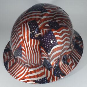 Metallic American Flag l Custom hydro dipped hard hats | Construction Helmet | Safety Helmet | Safety Hard Hats