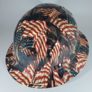 We the People and Wave Flags in Red White and Blue | Construction Helmet | Safety Helmet